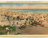 Beach Boardwalk Rockaway Park New York linen postcard