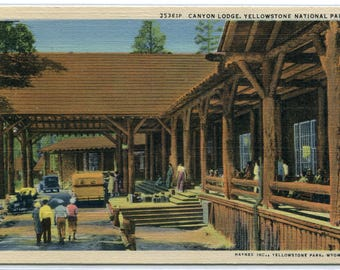 Canyon Lodge Yellowstone National Park Wyoming linen postcard