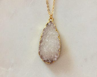 Large White Druzy Stone necklace - Stone Pendant Necklace - Gold Necklace With Druzy Gemstone