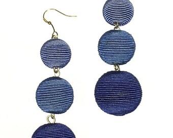 Blue Ombre Cord wrapped Les Bonbon bon bon Earrings 3 Balls Hanging