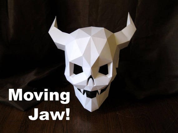 devil skull mask with moving mouth for halloween diy pattern with just paper and glue halloween mask demon skull