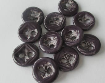 Eggplant Purple Ceramic Buttons