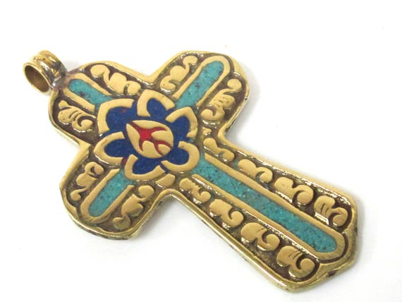 1 Pendant - Reversible Tibetan solid Brass cross pendant with lotus floral carving turquoise lapis coral  inlay - PM564C