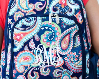 Monogrammed Emerson Paisley Girls Backpack