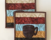 Set of coffee themed potholders