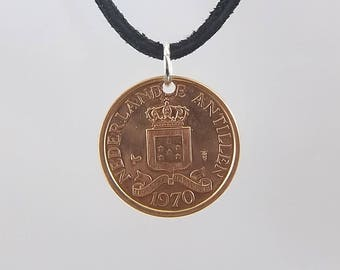Netherlands Antilles Coin Necklace, 1 Cent, Coin Pendant, Mens Necklace, Womens Necklace, Leather Cord, Vintage, Birth Year, 1970