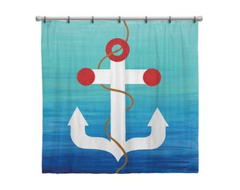 Shower Curtain for Kids Bathroom from Hand Painted Images - Nautical Anchor Navy Blue Ocean Theme - Children's Bath Decor