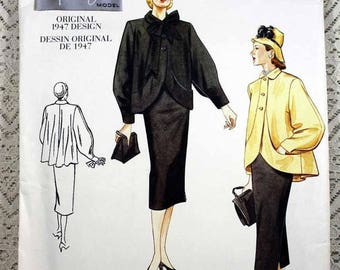 ON SALE Vogue 2444, Misses' Coat and Skirt Sewing Pattern, Reproduction of a 1947 Pattern, Misses' Size 12, 14, 16, Uncut