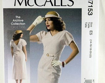 ON SALE McCall's 7153, Misses' Dress Sewing Pattern, Reproduction Sewing Pattern, Circa 1933 Dress Pattern, Archive Collection, Size 14 to 2