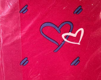 Vintage Valentines Day NEW Pkg Wrapping Gift Paper Sealed Red Hearts American Greetings 2 sheets Scrapbooking