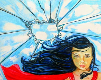Glass ceilings/ wall art/ Colored pencil art