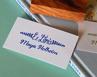 Custom Scandinavian Vine Bookplate Olive Wood Stamp