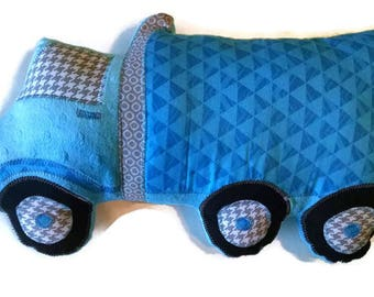 Semi Truck Pillow, Personalized, Custom Semi Truck Plush Pillow, Toddler Plush Construction Toy, Baby Shower Gift, Custom MADE TO ORDER