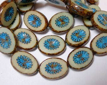 10 14x11mm Cream with turquoise wash Picasso Starburst Oval Czech Glass Beads