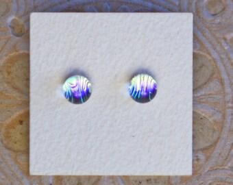 Dichroic Glass Earrings , Petite, Golden Violet   DGE-1207