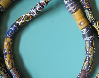 African KROBO Hand Painted Recycled Glass BEADS Ghana Africa