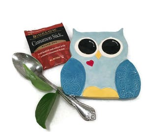 Owl Spoon Rest / Jewelry Dish - Light Blue - Ready to Ship