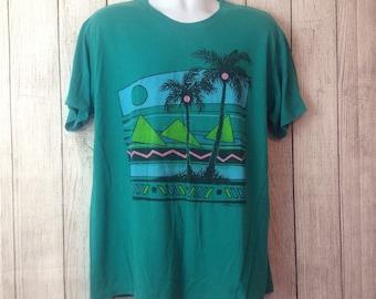 Vintage 90s Teal Summer Beach Palm Tree Surf Tee Shirt T-Shirt  Adult Xl