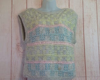 Vintage 80s McGregor Pastel Striped Sweater Vest Pullover Ladies Medium Preppy Boho