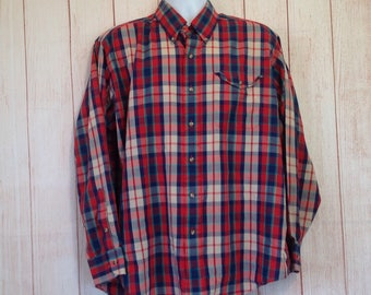 Vintage 70s The Fox Collection Long Sleeve Button Front Shirt Mens XL Casual Plaid