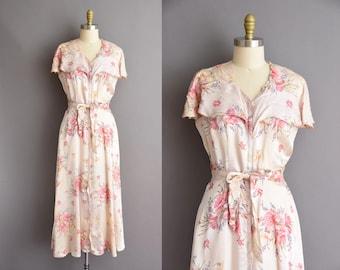 vintage 1950s pink silk satin floral print house dress Medium 50s vintage dress