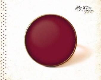 Monochrome 4 • Burgundy plum color glass Cabochon ring