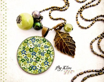 Necklace Cabochon necklace • • sakura cherry blossom Japan green blue white leaf bead