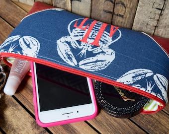 Large Wristlet, Nautical Wristlet, Lobster Wristlet, Monogrammed Wristlet, Nautical Bag, Smart Phone Wallet, Smart Phone Wristlet, Nautical