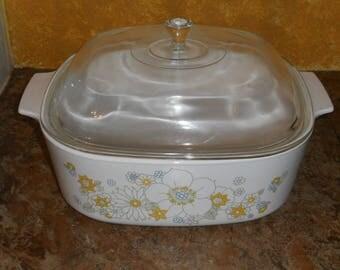 Vintage Corningware 4 Qt Casserole Dish w/Lid-Floral Bouquet