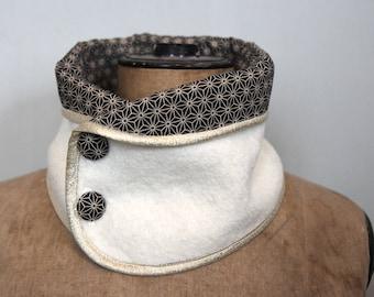 White Shashiko BOILED wool collar