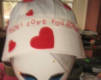 Sending My Love For Everyone to see 1970s Bucket Heart Hat Hand made