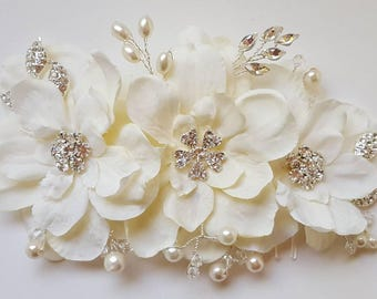 Bridal Hair Comb, Wedding Comb, Decorative Comb, Floral Wedding Comb, Rhinestone  Bridal Comb, Ivory Pearls, rhinestone leaves, crystals