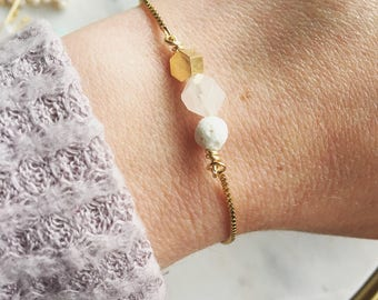 Lava and rose quartz essential oil bracelet, essential oil bracelet, adjustable gold bracelet