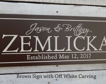Sign with Last Name | personalized sign | Established Date Sign | Carved Wood Sign | Our name Sign | Bridal Shower Gift | last name plaque