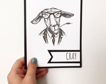 Hipster Goat - Cray - Handmade Card