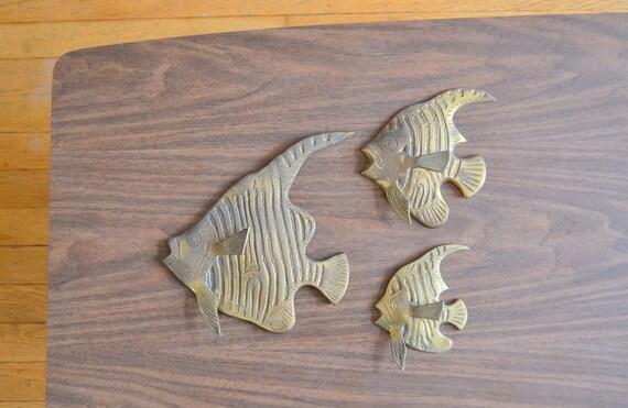 Vintage Nautical Wall Decor: Vintage Brass Fish Wall Hangings / Nautical Home Decor