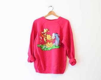 Vintage Pink Disney Winnie the Pooh Tigger Piglet Sweatshirt