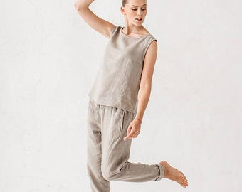 Natural Gray Linen Trousers
