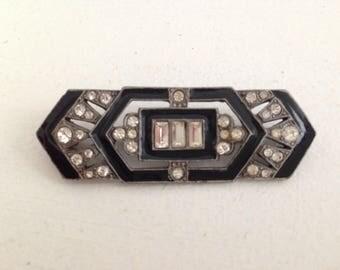 At Deco Vintage Brooch Hat Or Hair Clip / Black Silver Diamonds / Vintage Wedding Accessories / Fascinator Hat Accessories