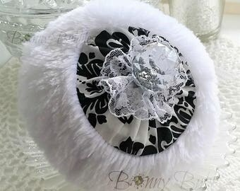 BLACK and WHITE Powder Puff - bath pouf with handle - gift box option - handmade by Bonny Bubbles