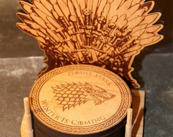 Game Of Thrones Coaster Set, Game Of Thrones Throne, Wood Coaster set, GOT Throne Coaster Set, Unique Coasters, Game Of Thrones