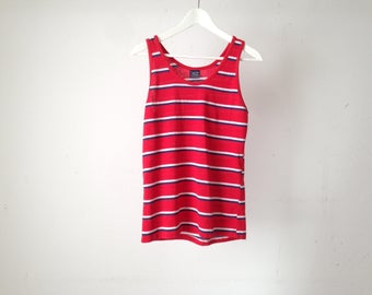 vintage BEACH surfer style red, blue and white striped TANK TOP