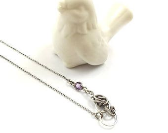 Wire wrapped necklace, amethyst jewelry, sterling silver wirework necklace, everyday delicate jewelry
