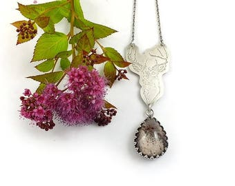 Silver woodland necklace, etched deer pendant, sterling gemstone jewelry, romantic necklace