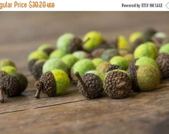 ON SALE Set of 24 SHADES Of Green Merino Wool Felted Acorns - As seen in Southern Living magazine