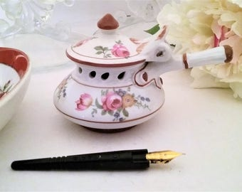 Vintage Porcelain Inkwell, Hand Painted Porcelain Inkwell, Inkwell and Pen Holder, Writers Desk Accessory,  Artist Inkwell