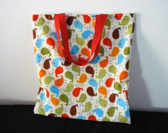 Library Bag book cute and colourful little birds red blue green brown  Back to School