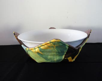 Bowl holder microwave cozy - yellow sunflowers
