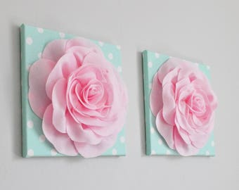 Pink Mint White Textured Wall Art, Mint Pink Polka Dot, Mint Pink Birthday Party Decor, Mint Pink Baby Shower, Mint Pink Rose Smash, Bridal