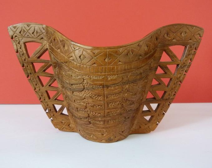 Vintage hand carved Scandinavian vase / cup